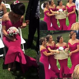 Wholesale High Low Cheap Elegant Dress - Elegant Mermaid Long Bridesmaid Dresses Off Shoulder Satin Wedding Guest Dresses High Low Cheap Maid Of Honor Party Gowns