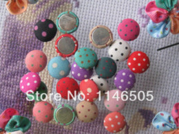 Wholesale Wholesale Buttons Bulk - 120pcs Bulk 15mm Polka-dot Printing Fabric Covered Round Button FlatBack craft As Jewelry Accessories and Scrapbook clothing set