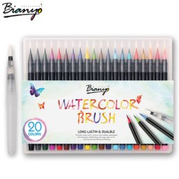 Wholesale Manga Copic Markers - Bianyo 20Colors Premium Painting Brush Pens Set Soft Flexible Tip Create Watercolor Copic Markers For Manga Comic Calligraphy