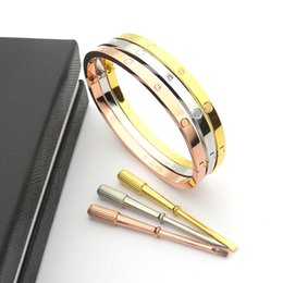 Wholesale Gold Nail Bangle - Manufacturers jewelry wholesale the latest narrow version of the full-nailed five-generation interface couple bracelet Ms. narrow bracelet