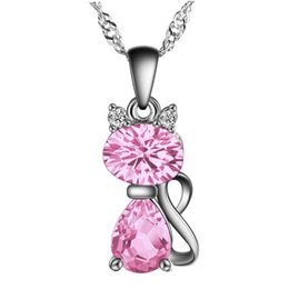 Wholesale Pink Cz Necklaces - High Quality Silver Cat Pendant Pink Austria Crystal AAA CZ Pendants Fit Necklaces Chain For Women Girls Charm Fashion Jewelry