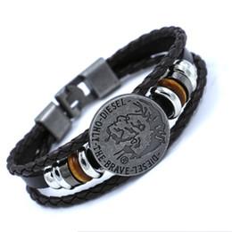 Wholesale clay skulls - European and American punk style Emirates skull leather bracelets for men Buckle beaded bracelet hip hop Bangle cuff