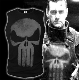 Wholesale Shoulder Cut Shirts - Punisher Skull sleeveless vest cut sleeve men vest clothes cultivate one's morality under vest Wide shoulder men T-Shirts 4045