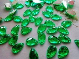 Wholesale Teardrop Acrylic Diamonds - 400pcs 8*13mm Green colour water drop shape Sew on Rhinestone Acryl stones strass Diamond Gemstone