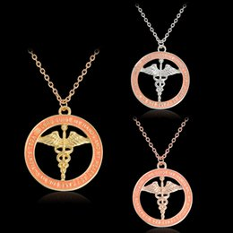 Wholesale Nurses Wholesale Gifts - 3 Color RN Pendant Round Charm RN Necklace Personalized Nurse Gift Registered Nurse Day Thanks Gift