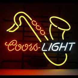 2019 coorisce i display di luce Coors Light Saxhorn Sax Real Glass Luce al neon Iscriviti Beer Bar Pub Display Concert Music Advertisement Sign 17