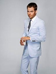 2015 Trajes para hombre azul claro con muesca solapa Trajes de boda para  hombres Novio de dos botones Trajes de esmoquin de padrino Trajes de dos  piezas ... 2eaad41f857d
