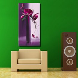 Wholesale Free Canvas Textures - Purple color decorative flower oil painting handmade heavy texture with palette knife acrylic wall art free shipping