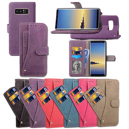 Wholesale Photo Covers - Card Photo Slot Holder Wallet Flip Case matte PU+TPU Multi-function Magnetic Cover For Samsung Note 8 S8 Plus S7 Edge iphone X 8 7 6 Plus
