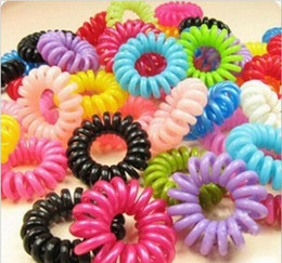 Wholesale Girls Telephone - 1000pcs Telephone Cord Rubber Hair Ties Elastic Ponytail Holders Hair Ring Scrunchies For Girl Rubber Band Tie Hair Rope