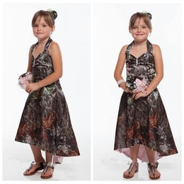 Wholesale Cheap Pageant Dresses Online - 2016 Halter Camo High Low Flower Girls Dresses Tea-Length Formal Beaded Crystal Girls Pageant Outside Party Gowns Cheap Online Custom