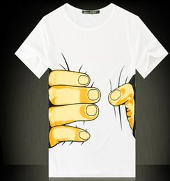 Wholesale Mens Round Neck T Shirt - Funny Mens Womens T Shirts Short Sleeve S-3XL Hand Grasp Round Neck Cotton Blend Couples 3d Printed T shirt Designer
