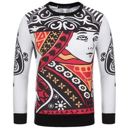 Wholesale Poker Sleeve - 2016 Fashion Casual Slim Male 3D Pattern Men Long T-shirt Graphic Poker Printing Sweater M-XXL Free Shipping