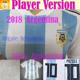 Wholesale Messi Football Player - 2018 Argentina player version world cup Soccer Jersey Home Blue white soccer Shirt Messi Aguero Di Maria football shirts uniform