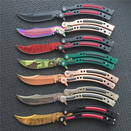 Wholesale Hiking Fire - 7 styles CS GO Butterfly balisong Knife Cross Fire 440C Steel Clip Point Plain Sharp metal handle Tactical Folding blade knives Spring Latch