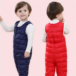 Wholesale Warm Baby Snowsuit - Children's Winter Jumpsuit Overalls Rompers Kids Winter Baby Snowsuit Boys Girls Bib Pants Toddler Thick Warm Bebe Clothes