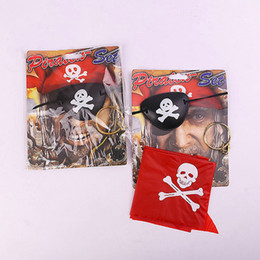 Wholesale Red Pirate Dress - Halloween Party Decoration Props 3Pcs Pirate Sets Blinkers Black Red Headband Earings Costume Dress Up Proms Suit Kit Halloween Accessories