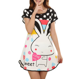 Wholesale Cute Red Sleepwear - Wholesale-Great Cute Women's Cartoon Polka Dot Sleepwear Pajamas Short Sleeve Sleepshirt Brand Fashion Nightgowns One piece Free