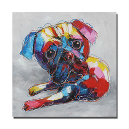 Wholesale Pictures Kids Bedrooms - Hand made Dog Oil Painting Animal Wall Decor Pictures Kids Room ,Bedroom Decoration Modern Painting on Canvas No Framed