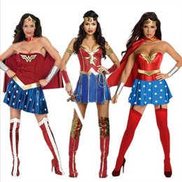 Wholesale Leather Corsets For Women - Women's Halloween Costumes Wonder Woman 3 Roles Leather Corset Adult Woman 4 Piece Costume for Halloween and Cosplay Party