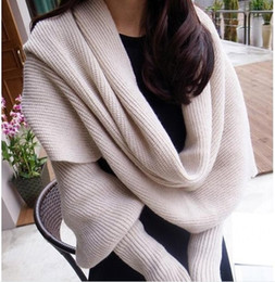 Wholesale Designer Wholesale Rings - Hot Solid Shawl Wrap Scarf of Women Soft Wool Solid Neck Warmer Fashion Designer Scarf Scarves Knit Scarf Gloves Christmas Gift