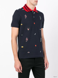 Wholesale Mens Brand Polo Shirt - Mens Summer Cotton t shirt Floral Snake embroidery fashion Short Sleeve polo t shirt Men Brand business T-shirt Men Luxury Homme D20