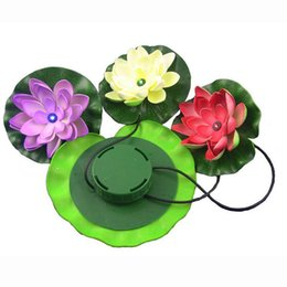 Wholesale Lotus Outdoor Lighting - IP65 Solar LED Lotus Blossom Leaf Festival Decoration Light Outdoor Waterproof Floating Lamps for Pond Pool