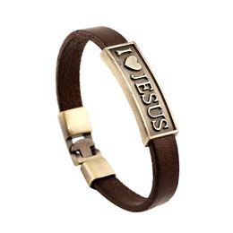 Wholesale Fashion Cross Bracelet - Fashion Jewelry I Love Jesus Heart Star Anchor Alloy Leather Bracelet Men's Casual Personality Beaded Bracelet Vintage Punk Bracelet B1149