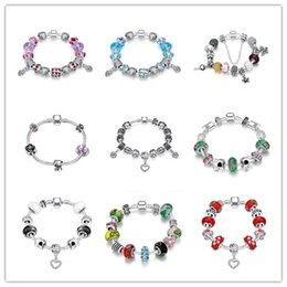Wholesale Mix 925 Beads European - Mixed Hot Charm Bead Bracelet 925 sterling silver jewelry top quality classic queen style Europe Hot free shipping 9 pcs lot