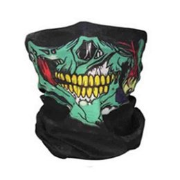 Wholesale Scary Skeleton - Wholesale- Halloween Scary Skull Masks Skeleton Easter Motorcycle Bicycle Mascaras Disfraces Scarf Half Face Mask Terror Cap Neck Ghost