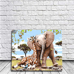 Wholesale Giraffe Wall Decor - Giraffes and Elephant Diy Oil Painting By Numbers Kits Wall Art Painting Home Decor Acrylic Painting On Canvas For Work Of Art 40x50cm