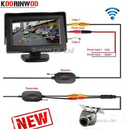 "Wholesale Wireless System Car - KOORINWOO Parking 4.3"" Inch TFT LCD Car Monitor Wireless Parking System Kit + Waterproof Night Vision Rear View Car Camera Free Shipping"