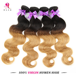 Wholesale Brazilian Body Wave Braid - Peruvian Braiding Hair Bundles 7A 4 Bundles Ombre Remy Body Weave Blond Hair Bundles Blond Peruvian Hair HLSK Human Hair Bundles