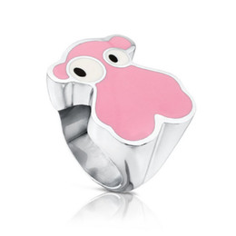 Wholesale Pink Engagement Party - Anillos de acero inoxidable stainless steel Pink Enamel Colors butterfly women simple design jewelry Rings oso Anillos