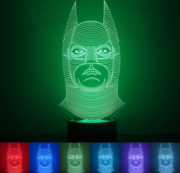 Wholesale Charger Toy - New 3D Batman LED Night Light Lamp Touch Lamp Light 7 Colorful Change USB Charger Home VoveltyChristmas Gift Kids' Cartoon Toy Min Order1PCS