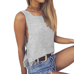 Wholesale Wholesale Sweater Vests - Wholesale- Viifaa Sexy Loose Knitted Sweater Vest Women 2017 Spring Autumn Pullover Side Split Sleeveless Jumper Tops