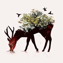 Wholesale Art Decorative Wall Mirrors - Modern home decorative painting wall art style wall art poster canvas canvas printed the flowers on the back of the deer