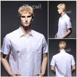 Wholesale Blonde Men Wigs - W3742 Men Blonde Short Wigs Business Men Synthetic Hairpiece 11inch 54g Adjustable Cap Size Brand New
