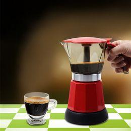 Wholesale Electric Machine Tool Metal - 6 cups Electric Coffee Maker Filter Coffee Pot Electric Moka Kitchen Coffee Filter Tools Red Blue Mocha Italian Espresso Machine