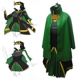 Wholesale Loki Cosplay - Hot Sale Customized The Avengers Loki Cosplay Costume Women's Dress Full Suit PU Cloak Any Size