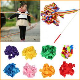 Wholesale Dance Rod - 400cm Rainbow Dance Rhythm Ribbon Gym Rhythmic Gymnastics Art Ballet Dazzler Ribbon Streamer Twirling Rod, 9 Colors