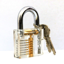 Wholesale Tubular Pin Locks - Lockmaster 7 pins Transparent Cutaway Practice Clear Acrylic Lock Padlock with Locker Master Key for lockpicking practice tools