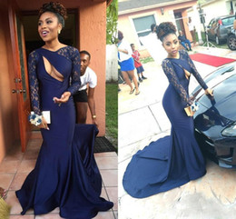 Wholesale Carpet Cutting - 2018 Sexy Cut-Out Neck Mermaid Evening Gowns With Lace Long Sleeve Satin Sweep Train Formal Party Prom Dress Slim Fitted Cloth Customized