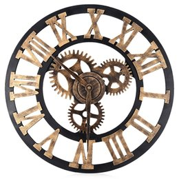Шестерня онлайн-Wholesale- 17.7 Inch Digital Wall Clocks Design 3D Large Retro Decorative Wall Clock Big Art Gear Roman Numerals Circular Living Room Clock
