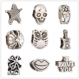 branelli del distanziatore del cranio Sconti Argento Tibetano all'ingrosso I LOVE YOU Starfish LIP SKULL Perline Europeo Big Hole Branelli Del Distanziatore Per Charms Bracciale XZ36