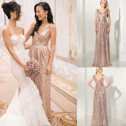 Wholesale Cheap Sparkly Wedding Dresses - 2016 Cheap Sparkly Rose Gold Sequined Bridesmaid Dresses V Neck Plus Size Backless Pleats Real Photos Maid Of Honor Wedding Evening Gowns