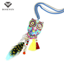Wholesale China Owl - Fashion Long Chain Multicolor Owl Pendant Necklaces With Feather Crystal Bead Tassels Women New Accessories Charm Jewelry CE4028