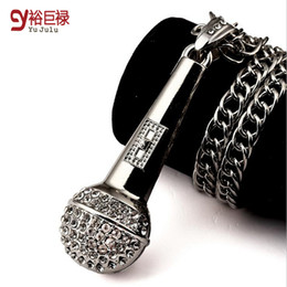 Wholesale Rhinestone Microphone - HIPHOP Classic Black Jewelry AA Rhinestone Pendant Necklace round Stereo Microphone Men and Women gold Chain rapper singer music gift