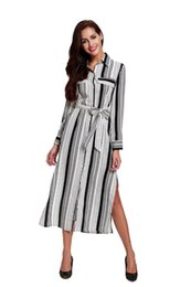 Wholesale Sexy Ladies Stripping - 2016 New Autumn Style Women Long Sleeves Dresses Stripped Lapel Neck Sexy Ladies Split Mid Beach Dresses FS0418
