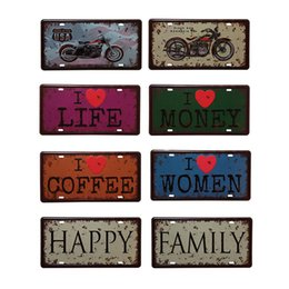 Wholesale Vintage Motorcycle Club - Wholesale- Vintage Metal Tin Sign Motorcycles I Love Coffee Retro Plaque Poster Bar Pub Club Wall Tavern Garage Home Decor 15*30cm 1pcs